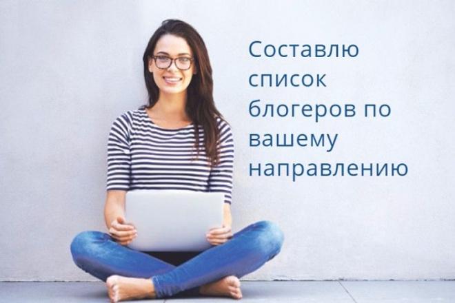 Составлю список блогеров по вашему направлению 1 - kwork.ru