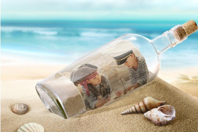 Сделаю сигну в прозрачной бутылке на пляже. Фото, логотип или картинка 1 - kwork.ru