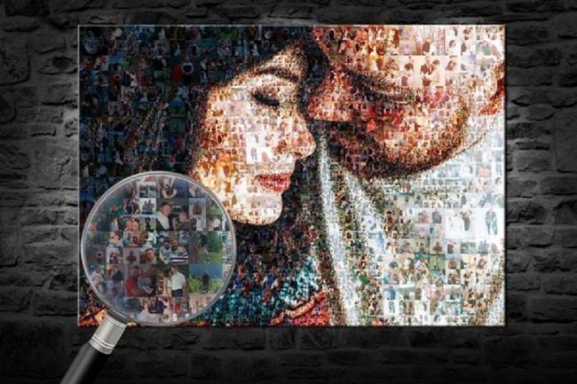 Фотомозаика из ваших фотоОбработка изображений<br>Составлю качественный макет фотомозаики из ваших изображений или фото, для печати на холсте или веб альбома. Фотомозаика - это картина из сотен небольших фото размером от 1 до 3 см. Издалека они выглядят как одно изображение, а вблизи - как отдельные фото.<br>