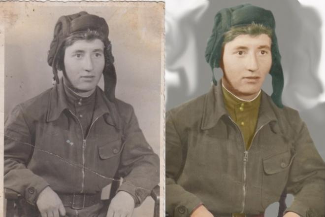 Реставрирую старые фотографииОбработка изображений<br>Реставрация старых и ветхих фотографий. Делаю цветными черно-белые фотографии. Выделяю отдельные фрагменты.<br>