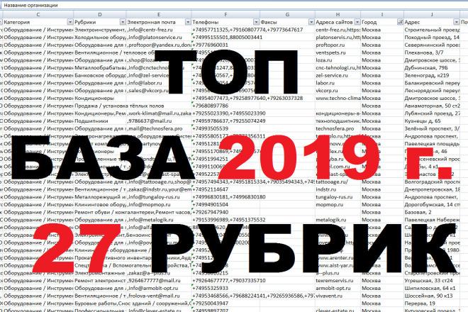 База 2019 г. номеров, email организаций крупных городов РФ. 27 рубрик 1 - kwork.ru