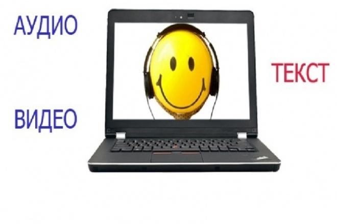 Перевод аудио, видео в текстНабор текста<br>Расшифрую аудио/видео: телефонные разговоры, интервью и т.д. Гарантирую грамотность и оперативность.<br>