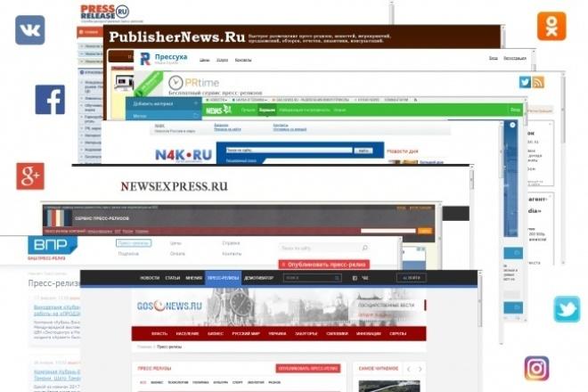 Размещу пресс-релиз на 30 сайтах-агрегаторах, блогах, СМИ и соц.сетяхРеклама и PR<br>Предлагаю публикацию вашей статьи (пресс-релиз, статья, анонс и т.п) как минимум на 30 различных площадках: - Агрегаторы пресс-релизов (pressuha.ru, press-release.ru, publishernews.ru, prtime.ru и т.п.); - Блоги (liveinternet, жж, privet.ru и т.п.); - СМИ (news2.ru, n4k.ru, newsexpress.ru, rb.ru и т.п.); - Репосты в соц.сети (одноклассники, vk.com, facebook, google+ и т.п.). Гарантия индексации публикуемого материала в поисковых системах Яндекс и Google! * Публикация в 1, 2-х и более новостных сайтах (СМИ) гарантируется в тарифах за 1000 руб. и выше.<br>