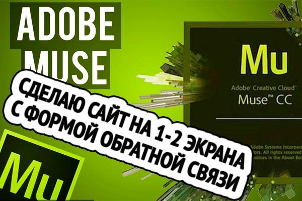 Сделаю сайт в Adobe Muse 1-2 экранаСайт под ключ<br>Разработка сайта или лендинга в программе Adobe Muse под ключ. Сайты сделанные в Adobe Muse отлично индексируются поисковиками. Примеры моих сайтов на Adobe Muse: http://eco.transgruz.org http://registratorspb.ru http://razreshenie-taxi.ru http://sweetdreams.spb.ru http://frutlend.ru http://25avtostoyanokspb.ru http://chistaya-zemlya.soou.ru http://peskostruika.soou.ru<br>
