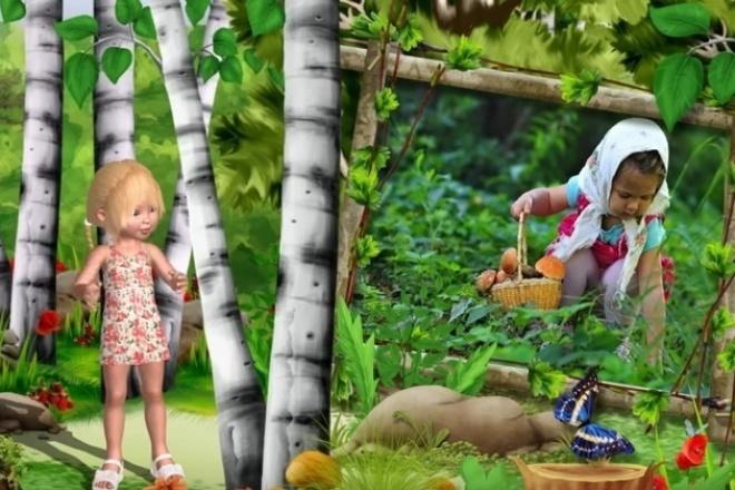 Видео сказка с фотографиями вашего ребёнкаСлайд-шоу<br>Слайд-шоу по сказке Машенька и Медведь. Длительность слайд-шоу - 5 мин. 49 сек. Для этого слайд-шоу понадобится 80 фотографий.<br>