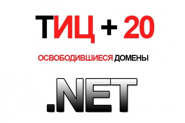 Найду Вам 10 свободных доменов с ТИЦ 20 в зоне . NETДомены и хостинги<br>Разыщу для Вас 10 свободных доменов с ТИЦ 20 (не склеенные) в доменной зоне . NET верхнего уровня! Доменов с ТИЦ 20 очень мало, а желающих вебмастеров, заполучить такие домены очень много. Задумайтесь! Действовать нужно прямо сейчас!<br>