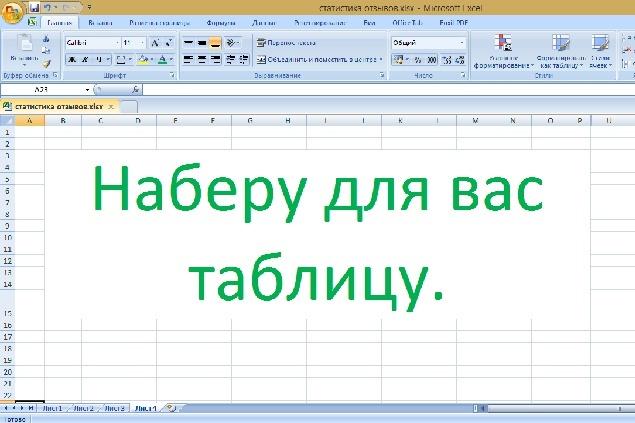 Наберу бланки и таблицы 1 - kwork.ru