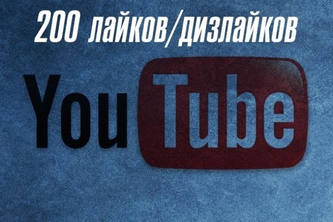 200 лайков, либо дизлайков на YoutubeПродвижение в социальных сетях<br>Все просто, название кворка говорит само за себя! Всего за 500 рублей вы сможете заполучить 200 социальных реакций на ваш контент по вашему запросу!<br>
