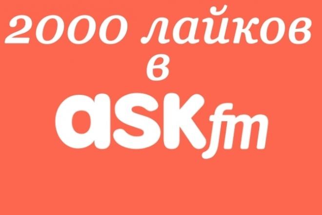 2000 лайков в ASKПродвижение в социальных сетях<br>Доброго времени суток вам! ASK довольно популярный сервис в русскоязычном сообществе, многие знаменитости используют его для интерактивного общения с фанатами. Многие люди давно искали как же заявить о себе через этот сервис. 2000 лайков в ASK помогут вам в считанные секунды обратить на себя внимание! Время выполнения от нескольких часов до пары дней. Нам нужна только ссылка, где накрутить лайки. Гарантия качества! Спасибо, что выбрали нас!<br>
