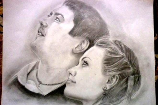 Графический портрет по фото 1 - kwork.ru