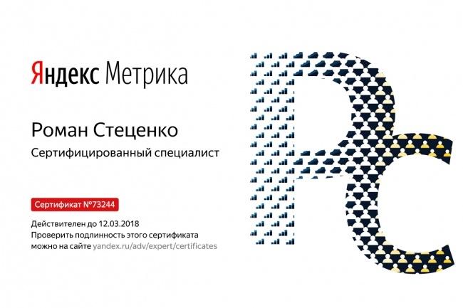 Сертификат Яндекс Метрика. Помощь в сдаче экзамена Yandex. Metrika 1 - kwork.ru