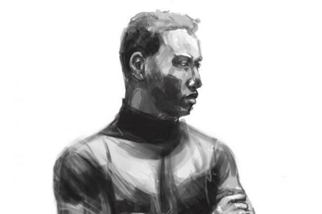 Стильный чб портрет 1 - kwork.ru