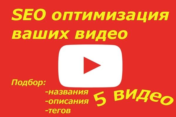 Оптимизирую 5 ваших видеороликов SEO YouTubeВнутренняя оптимизация<br>Подберу ключевые слова, заголовки, описание и теги. После оптимизации ваши видеоролики будут появляться в поиске и похожее видео что увеличит просмотр ваших видео.<br>