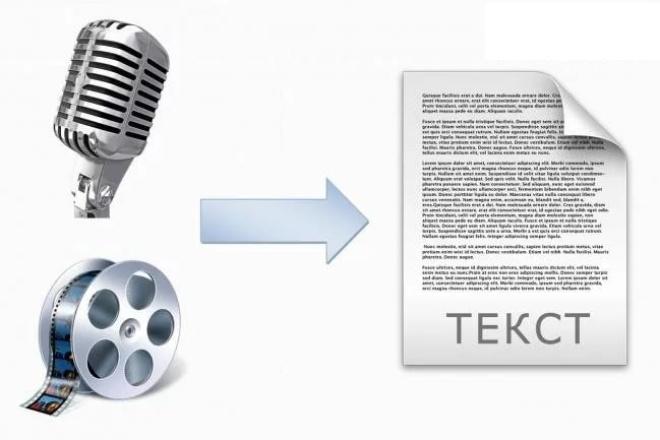 Транскрибация. Перевод из аудио в текст, перевод из видео в текстНабор текста<br>Здравствуйте. Предлагаю вам следующие услуги: Перевод из аудио(видео) в текст. Транскрибация текста. Грамотно и быстро перепечатаю текст! Дословная расшифровка записей лекций, семинаров, тренингов, видео-уроков и т.д. Работаю быстро, четко и грамотно. Настроен на продолжительное сотрудничество. Внимание! В данный кворк входит работа только с записями среднего и хорошего качества и только на русском языке.<br>