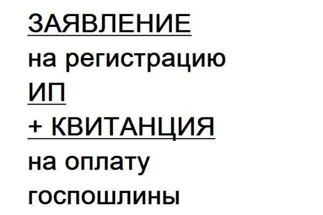 Заявление на регистрацию ИП 1 - kwork.ru