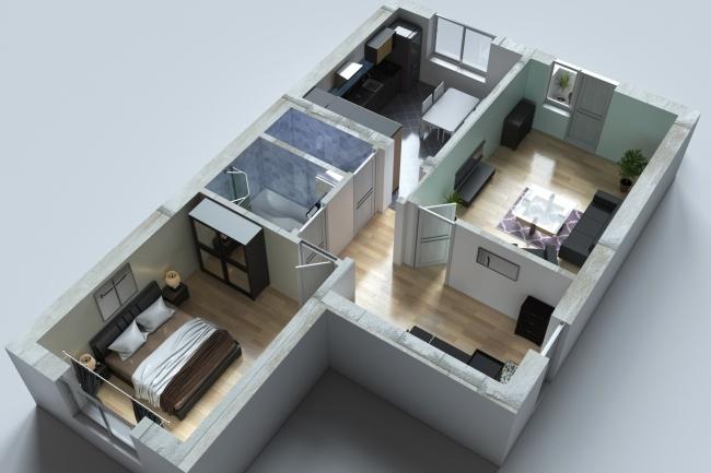 3д модель, 3d план, визуализация интерьераМебель и дизайн интерьера<br>3D модель дома/квартиры для облегчения восприятия и наглядности планов и схем помещений. 1 кворк = 1 ракурс 3д плана с моделью стен, пола, текстурами и расстановкой мебели<br>