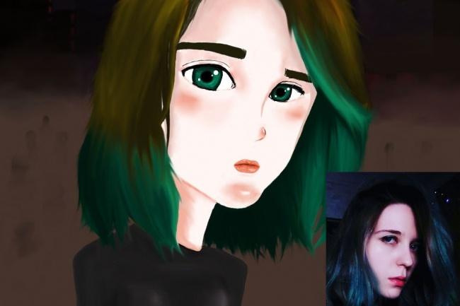 Нарисую графический портрет в мультяшном стиле 1 - kwork.ru