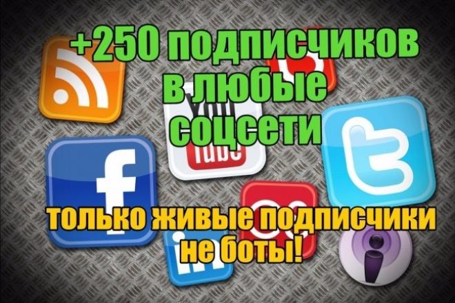 250 живых подписчиков в соцсетиПродвижение в социальных сетях<br>Живые подписчики в соцсети! ютуб фейсбук твиттер Одноклассники Инстаграм Гугл+ Все подписчики реальные люди, не боты, они могут со временем отписываться, но это нормально, число отписок как правило со временем 5-10%, но всё также зависит и от вас, если контент интерес, то отписок может и не быть вовсе. Никаких списаний подписчиков Выполнение заказа за 3-7 дня Все подписчики живые люди, не боты Никаких сакций со стороны соцсетей<br>