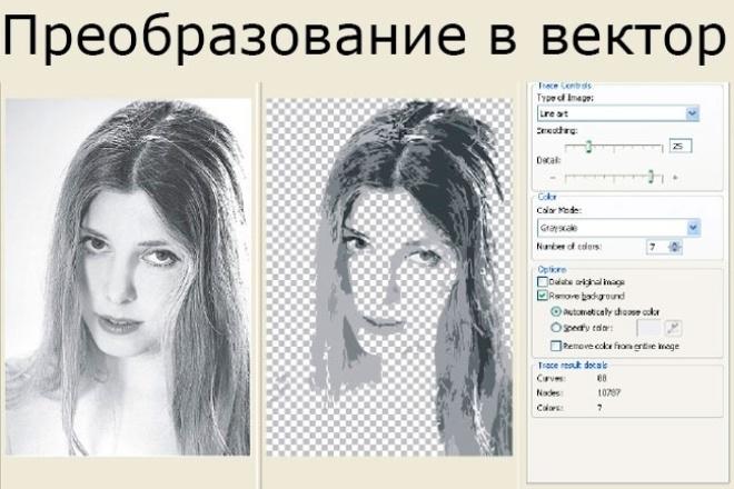Преобразую в векторОтрисовка в векторе<br>Преобразую в вектор растровое изображение: логотипы иконки, фотографии эмблемы, рисунок от руки Возможна дорисовка дополнительных деталей, например дорисовка обрезанной части, доп. вещей и т. д. На выходе в формате cdr, ai, eps<br>