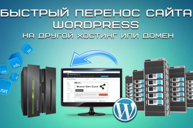 Перенесу Wordpress сайт на другой хостинг и настрою работу сайта 1 - kwork.ru