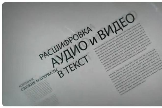 Транскрибация. Расшифровка текста с аудио или видео, фото или скана 1 - kwork.ru