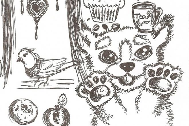 Нарисую черно-белые и цветные иллюстрации, эскизы, персонажейИллюстрации и рисунки<br>Черно-белые иллюстрации для книг, статей, блогов и любых других целей. Быстро и качественно, согласно вашему заданию! В ручной технике(возможно аналогичное исполнение в компьютерном варианте).<br>