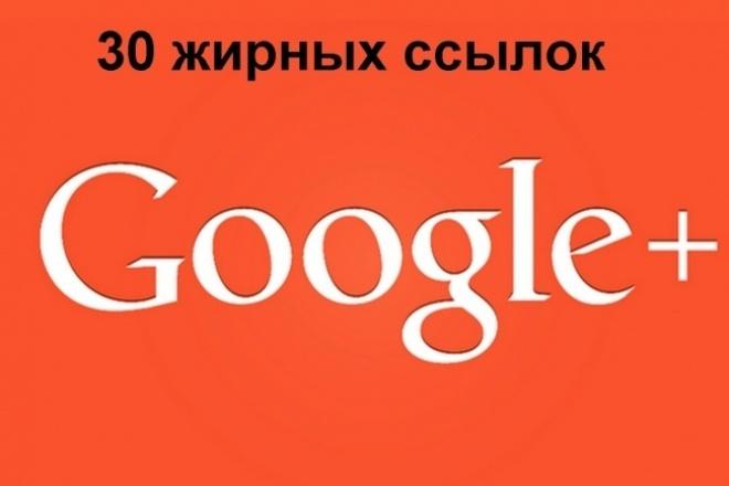30 Google Plus ссылок с жирных аккаунтовСсылки<br>Ваша ссылка будет опубликована на стене жирных Google Plus (Гугл Плюс) аккаунтах. Подробнее: 1. 30 аккаунтов (делаю с запасом в б о льшем количестве) 2. У каждого аккаунта 1000-3000 друзей 3. Уникальный околоссылочный текст в два-три предложения 4. Ссылки размещаются бессрочно Что это дает: 1. Бэки в Явэбмастере 2. Посещения 3. Переходы поисковых роботов 4. Повышение трастапозиций Предоставляемый отчет: Текстовый файл с 30 ссылками на места в соцсети где размещены ваши ссылки с текстом - вы сможете увидеть эти ссылки, текст и убедиться, что у их авторов у всех более 1000 друзей в соцсети.<br>