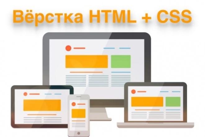 Верстка HTML+CSS из PSD макетаВерстка и фронтэнд<br>Верстка вебстраницы или сайта по предоставленному вами PSD макету, если у вас его нет возможна верстка по образцу из интернета или по изображению в любом формате. Адаптивная верстка для отображения на телефонах и планшетах, верстка под всевозможные разрешения экранов настольных компьютеров и ноутбуков. Эффекты анимации и динамичные переходы. Мобильное меню и модальные окна (lightbox). Результатом работы будет готовый к работе вебсайт, со всеми необходимыми ресурсами, HTML, CSS и JS файлами. 1 страница сайта = 1 кворк<br>