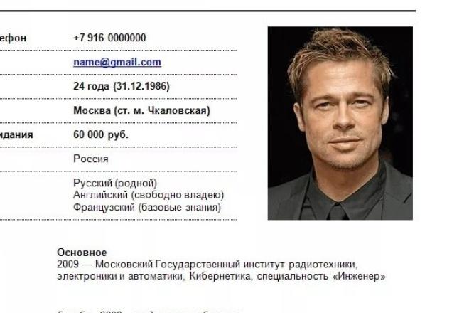 Помогу  составить профессиональное резюме 1 - kwork.ru