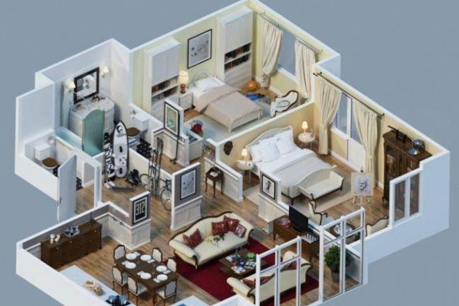 Создам 3д модель дома + обстановка в нем 1 - kwork.ru