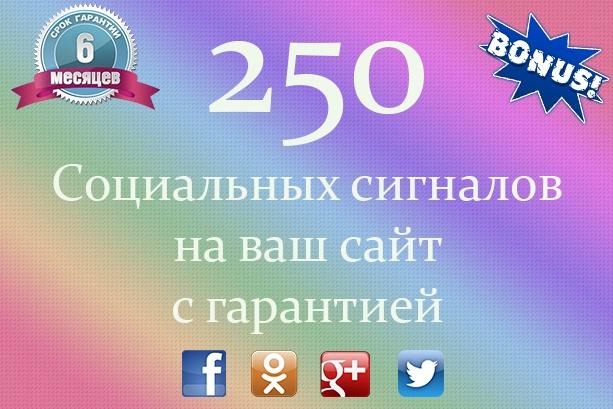 250 социальных сигналов на ваш сайт с гарантией 1 - kwork.ru