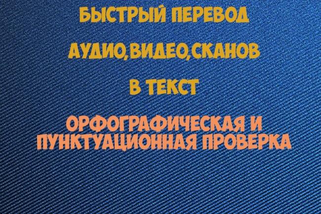 Быстро и грамотно переведу из аудио, видео, сканов в текстНабор текста<br>Быстро и грамотно переведу аудио, видео, сканированные страницы в текст. При наборе текста будет выполнена полная орфографическая и пунктуационная проверка.<br>