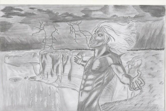 Черно-белый рисунок, эскиз татуировки 1 - kwork.ru