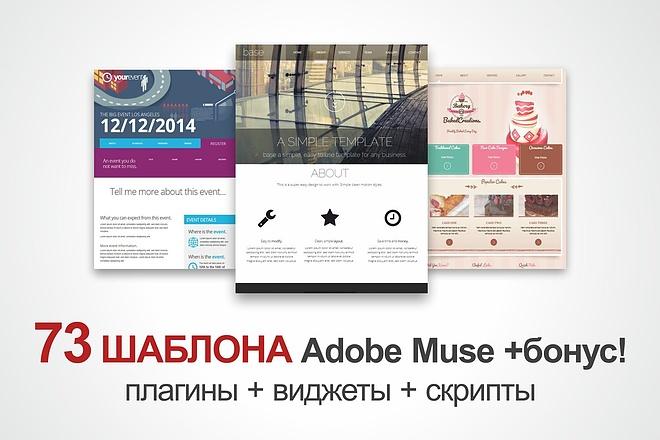 73 шаблонов сайтов и лендингов для Adobe Muse + плагины, виджиты 1 - kwork.ru