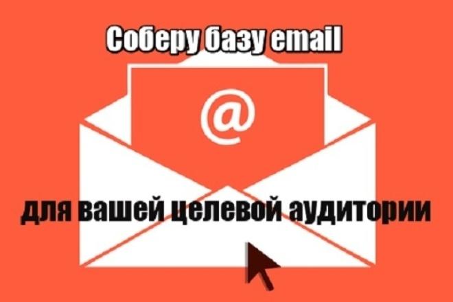 Соберу базу данных email Вашей целевой аудиторииИнформационные базы<br>При покупке данного кворка Вы получите базу email Вашей целевой аудитории, собранную из открытых источников. База создается специально под Ваш запрос, поэтому вся информация в ней актуальная, все почты валидные. Примеры целевой аудитории: 1. Мамы Москвы. 2. Люди, инвестирующие в криптовалюту. Полученную базу Вы сможете использовать для email рассылки с целью привлечения новых клиентов. Хорошая целевая база email показывает очень большую конверсию в заказы.<br>