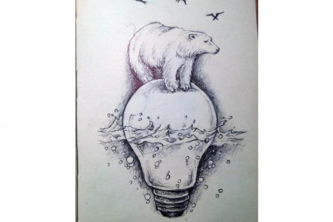 Рисую иллюстрации и картинки вручную на любую тематикуИллюстрации и рисунки<br>Предлагаю выполнение эскиза, скетча или иллюстрации в ручной технике. Любая степень сложности. Техника исполнения - тушевая, карандашная графика, акварель В рамках предложения могут быть выполнены эскизы для татуировки, иллюстрации к сайтам и презентациям, руководствам, учебным пособиям, книгам, картинам... и многое другое. Характеристики итогового файла, который Вы получаете: 1. Сканированное растровое изображение. 2. Формат jpeg 3. Формат обсуждается при составлении ТЗ 4. Черно-белое или цветное, так же обсуждается при составлении ТЗ.<br>
