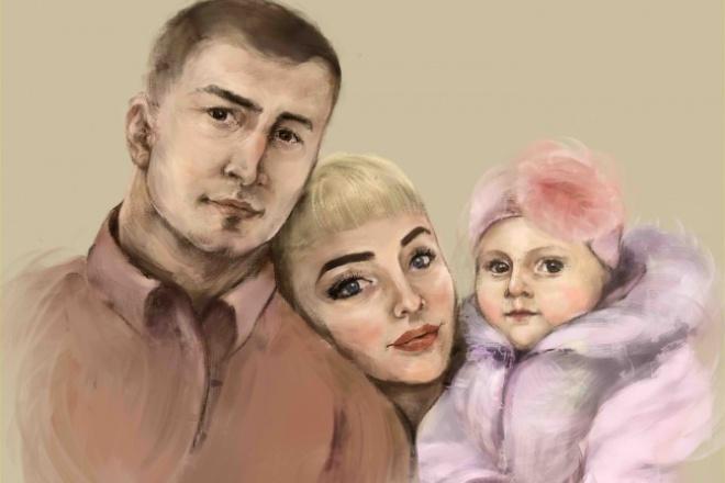 Нарисую портретИллюстрации и рисунки<br>Одиночный портрет/групповой портрет на графическом редакторе по фотографии любого качества. Ч/б; цветокорекция; стилизация; декоративные мотивы.<br>
