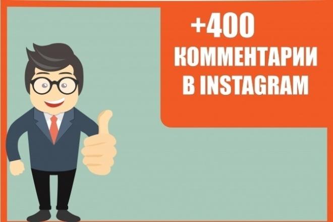 +400 комментариев на ваши публикации в InstagramПродвижение в социальных сетях<br>Здравствуйте, для вас мы предлагаем 400 комментариев на ваши публикации. Возможно распределить на несколько публикаций. Нужно всего лишь скинуть ссылки ваших публикаций и мы преступим к работе. ? Возможно выбрать как и смайлы так и словесные ответы ? Ваш список комментариев ? 100% гарантия ? Без списаний пишут реальные пользователи социальной сети Instagram ? Без бана ? Возможны повторы Для вас мы рекомендуем выбрать еще парочку услуг, для эффективного продвижения вашего аккаунта.<br>