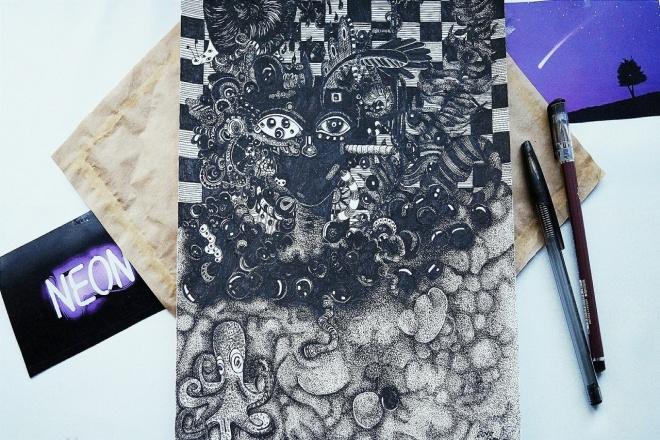 Нарисую иллюстрацию черной гелевой ручкой 1 - kwork.ru