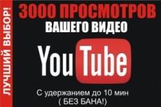 3000+ просмотров +100 лайков Вашему видео на YouTubе 7 - kwork.ru