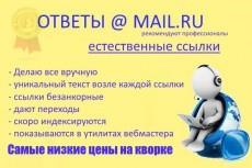 Размещение 10 естественных ссылок в сервисе ответов Mail. Ru 15 - kwork.ru