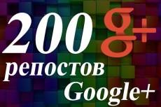 Google+ - 300 Репостов (поделиться) по критериям 20 - kwork.ru