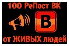 За день 100 живых репостов ВКонтакте. Вручную, только пользователи 4 - kwork.ru