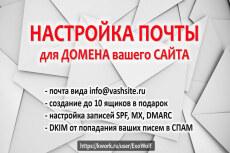 Настрою почту для домена info.вашсайт.ru в интерфейсе яндекса 7 - kwork.ru