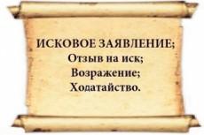 Подготовка процессуальных документов- иски, отзывы, возражения, жалобы 7 - kwork.ru