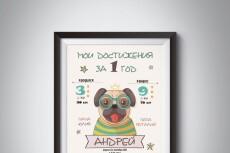 Метрика новорожденного, постер достижений и милые открытки 9 - kwork.ru