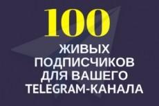 600 подписчиков на канал Телеграм. Живые исполнители 7 - kwork.ru