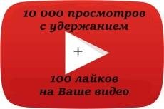 2000 просмотров видео с удержанием на YouTube 23 - kwork.ru
