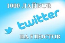 Лайки в Twitter 333 шт. Можно разделить на несколько постов 5 - kwork.ru