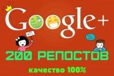 200 репостов в Google Plus 10 - kwork.ru